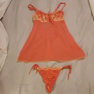 NEW Peach Babydoll Lingerie Set